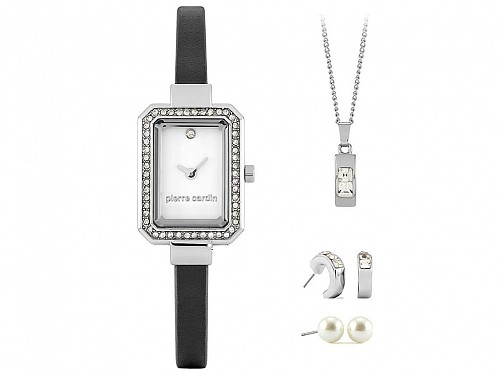 Pierre Cardin  Gift Set PCX6530L280 Jewelry Collection with Womens Watch in Silver, 2 sets of earrings and necklaces in gift box
