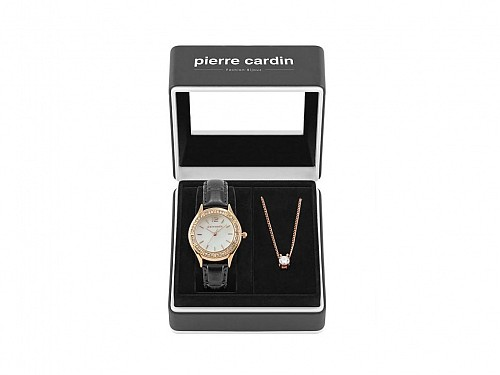 Pierre Cardin Gift Set  PCX6556L290 Jewelry Collection with Womens Watch in rosegold color and necklace in gift box