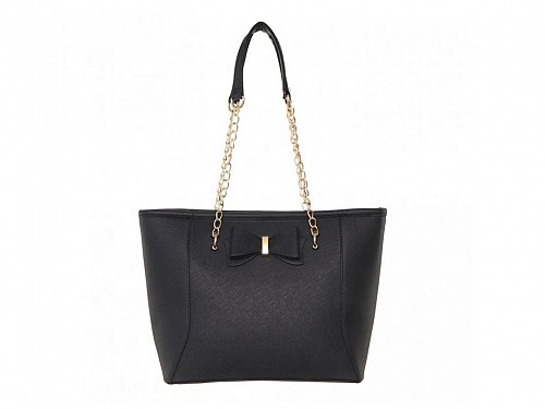 Women's Shoulder Bag with Chain in Black, 38x26x11.5cm