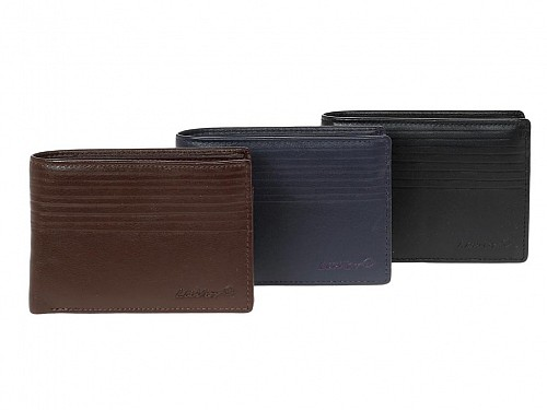 Leather Leather Wallet with ID and RFID Protection in 3 colors, 12.5x9 cm