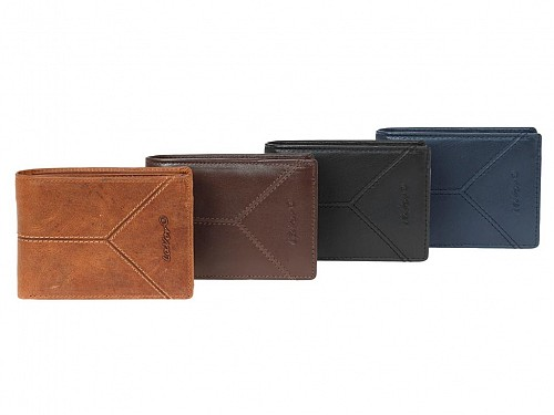 Men's Leather Wallet with Triple Banknotes and RFID Protection, 4 colors, 12.5x9 cm