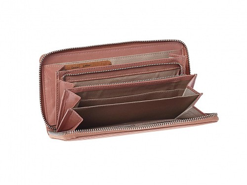 Women's Leather Wallet with Identity Position and RFID Protection, in 3 Colors, 19x10 cm