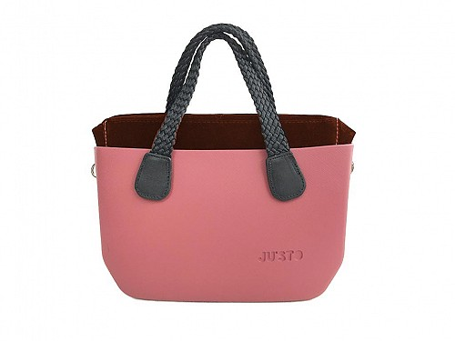 JU'STO Women's Rubber Hand Bag with cherry Base and black Straps, 30x10x18 cm, J-Tiny