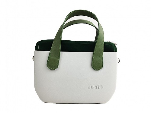 JU'STO Women's Rubber Hand Bag with grey Base and green Straps, 30x10x18 cm, J-Tiny