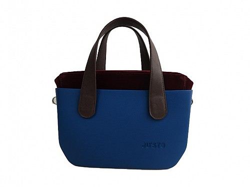 JU'STO Women's Handbag J-Tiny from Rubber in Blue-Brown, 33x8x19 cm