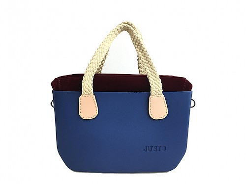 JU'STO Women's Rubber Hand Bag with Blue Base and Beige Straps, 30x10x18 cm, J-Tiny