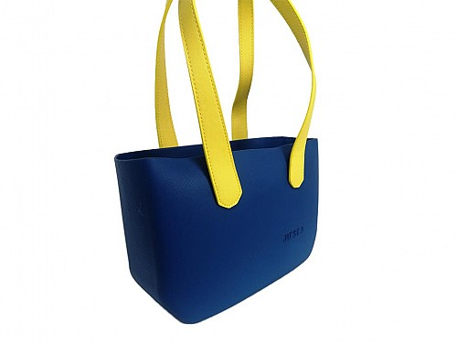 JU'STO Women's Rubber Shoulder Bag with Blue Base and yellow Strap, 36x10x23 cm, J-Wide