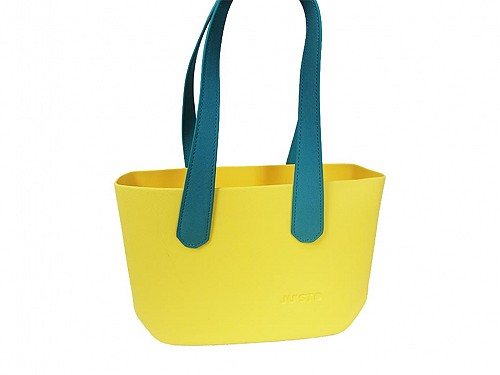 JU'STO Women's Rubber Shoulder Bag with yellow Base and blue Strap, 36x10x23 cm, J-Wide
