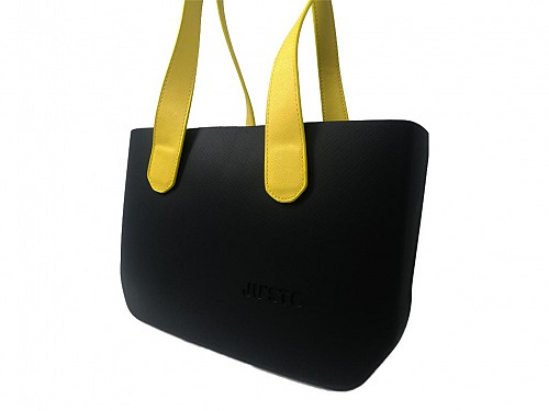 JU'STO Women's Rubber Shoulder Bag with black Base and yellow Strap, 36x10x23 cm, J-Wide