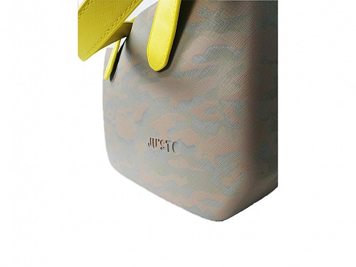 JU'STO Women's Gray Handbag with brown Base and yellow Straps, 34x10x23 cm, J-WIDE